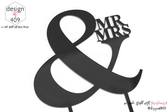 Mr & Mrs Cake Topper / Style #12  (other colour choices available)