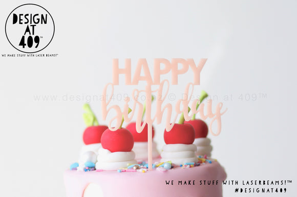 Mini Happy Birthday Style 1 Cake Topper - Pastel+ Colours & Fluro