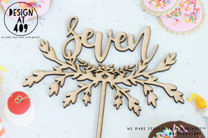 Seven With Half Wreath Cake Topper  (other colour choices available)