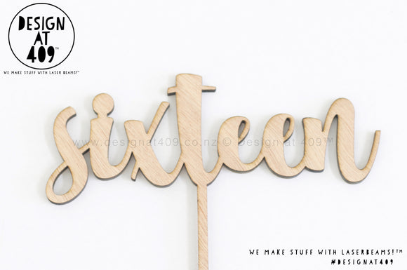 Sixteen Cake Topper / Style #1  (other colour choices available)