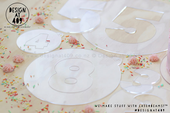 Acrylic Sprinkle Number Templates 0 - 9 (various sizes available)