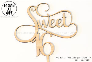 Sweet 16 Cake Topper / Style #3  (other colour choices available)