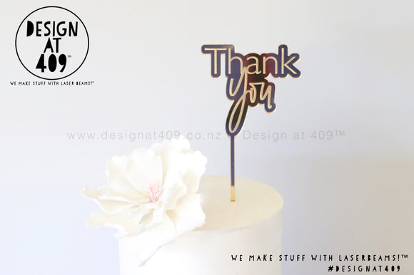 Mini Thank You Bubble Mirror Cake Topper  (other colour choices available)
