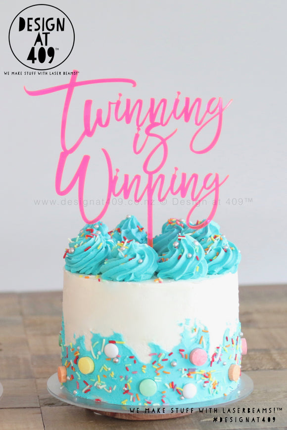 Twinning Is Winning Cake Topper  (other colour choices available)
