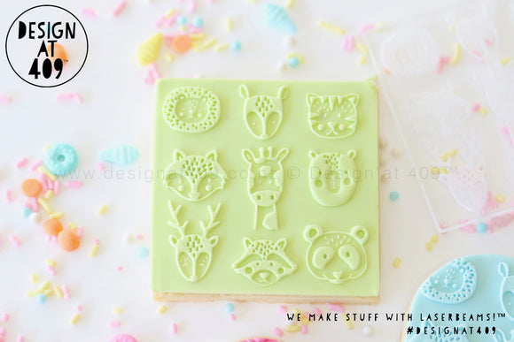Wild Animals Patterned Raised Acrylic Fondant Stamp