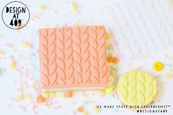 Knit Large Patterned Raised Acrylic Fondant Stamp
