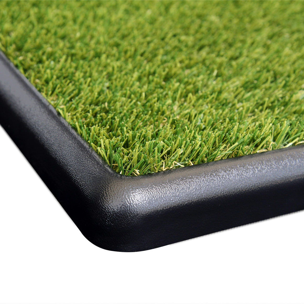 Low profile tray and flush fit grass for pets