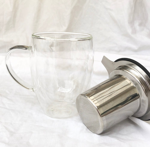 Double Walled Glass Infuser Mug