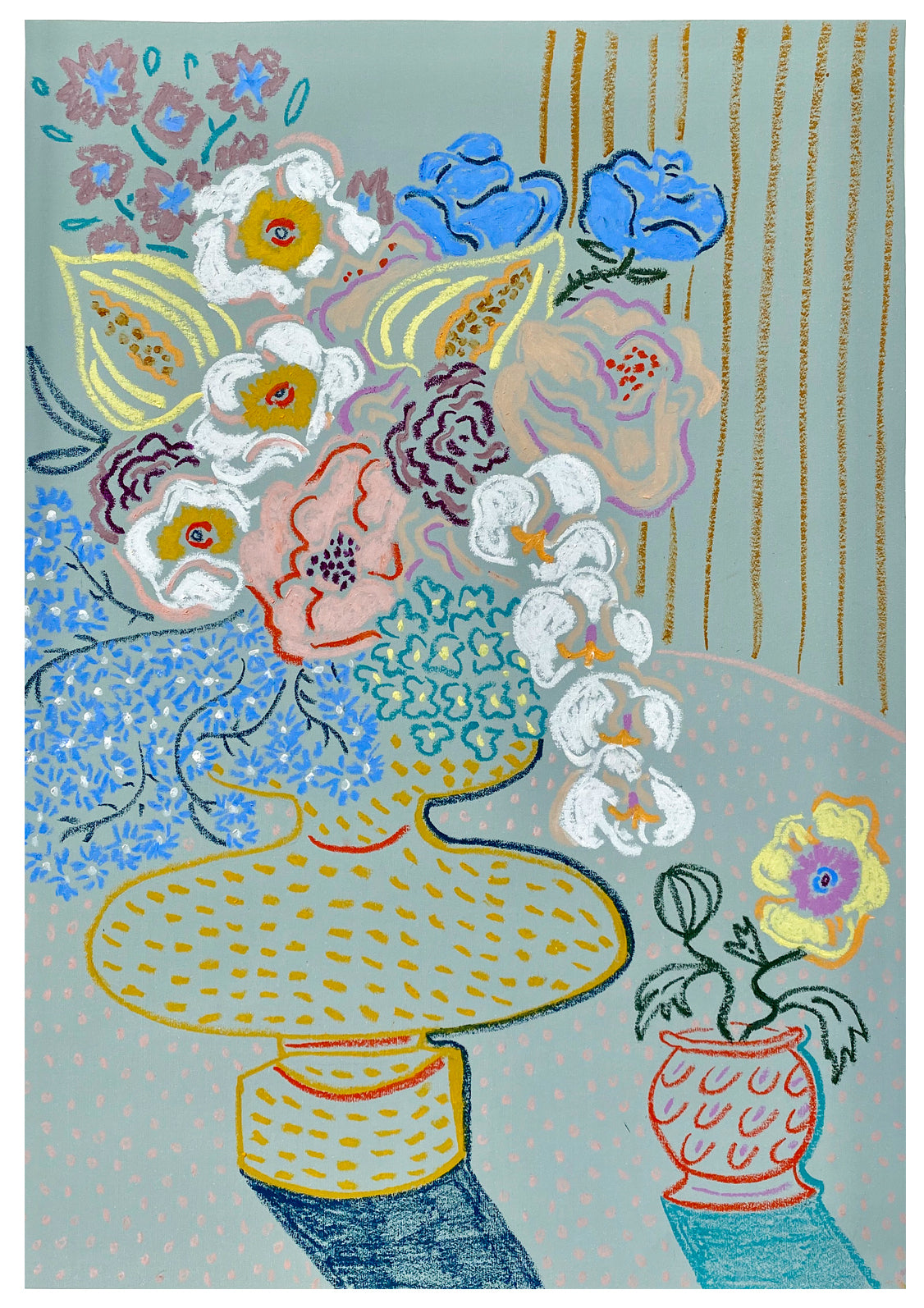 Flowers from Copenhagen | Camilla Perkins | Oil Pastel on Coloured Paper | Partnership Editions