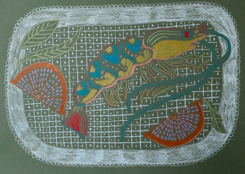 Tiger Prawn Study Green | Camilla Perkins | Original Artwork | Partnership Editions