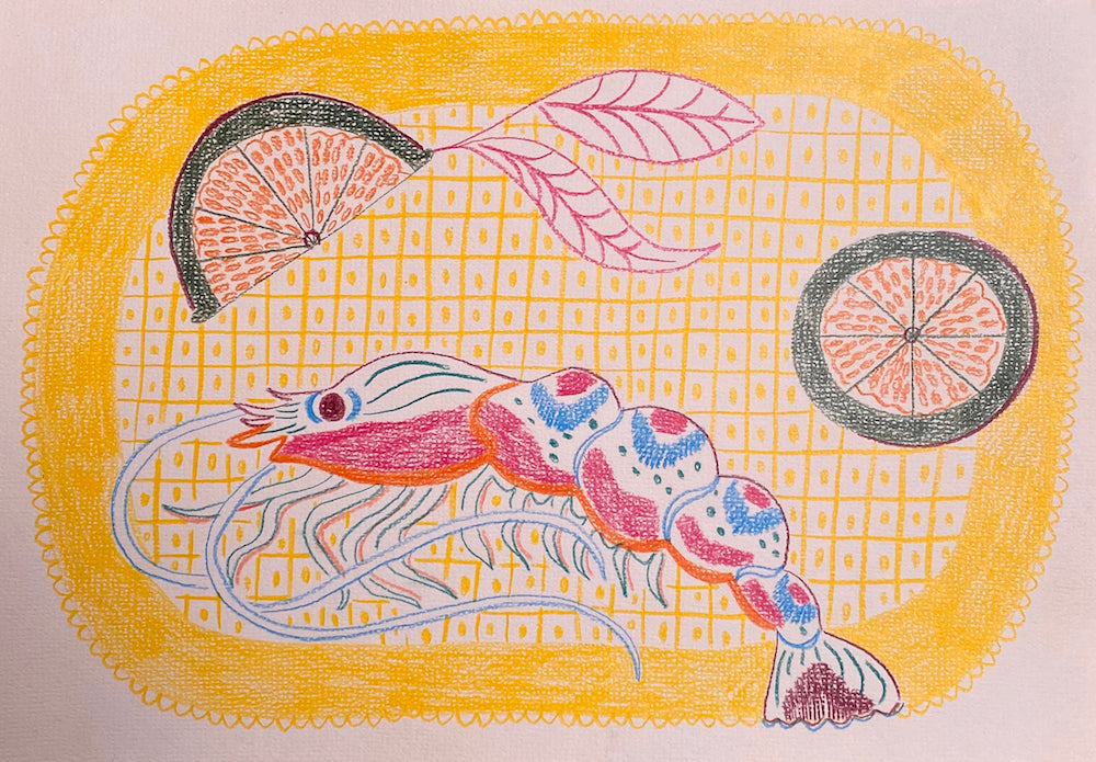 Tiger Prawn Study Pink | Camilla Perkins | Original Artwork | Partnership Editions
