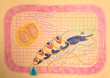 Load image into Gallery viewer, Tiger Prawn Study Peach | Camilla Perkins | Coloured Pencils on Paper | Partnership Editions