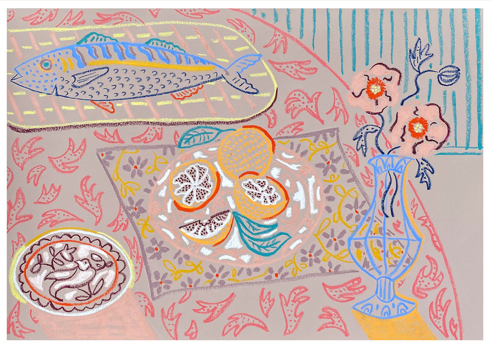 Still Life with Blood Oranges & Mackerel | Camilla Perkins | Original Artwork | Partnership Editions