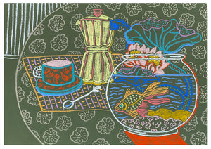 Still Life with Water Lilies & Cafetiere | Camilla Perkins | Original Artwork | Partnership Editions