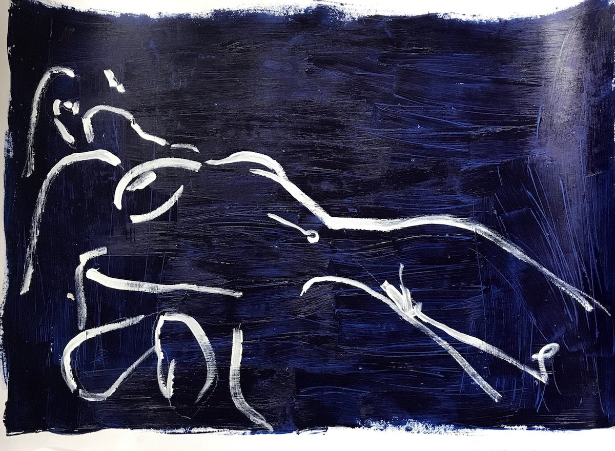 Blue Nude - Lottie Resting 1 | Alexandria Coe | Original Artwork | Partnership Editions