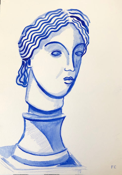 Blue Queen on Plinth | Frances Costelloe | Original Artwork | Partnership Editions