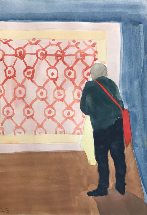 Woman and Textile | Christabel Blackburn | Original Artwork | Gouache on Paper | Partnership Editions