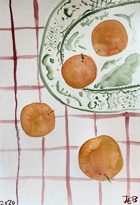 Christmas Clementines on Green Plate | Julianna Byrne | Original Artwork| Partnership Editions
