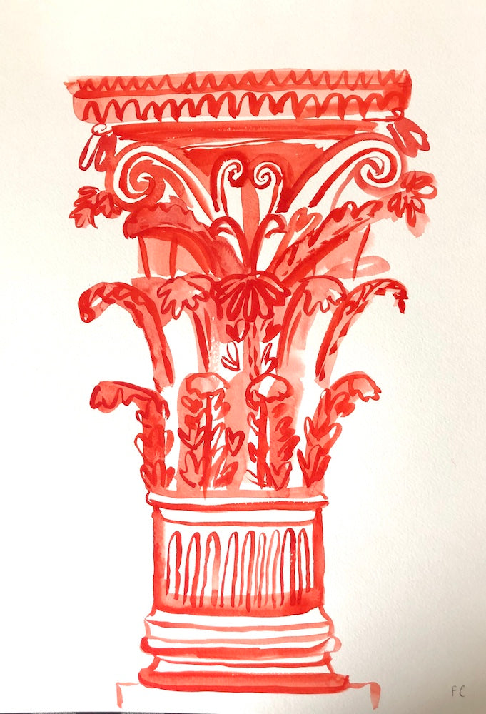 Corinthian Column In Red | Frances Costelloe | Original Artwork | Partnership Editions