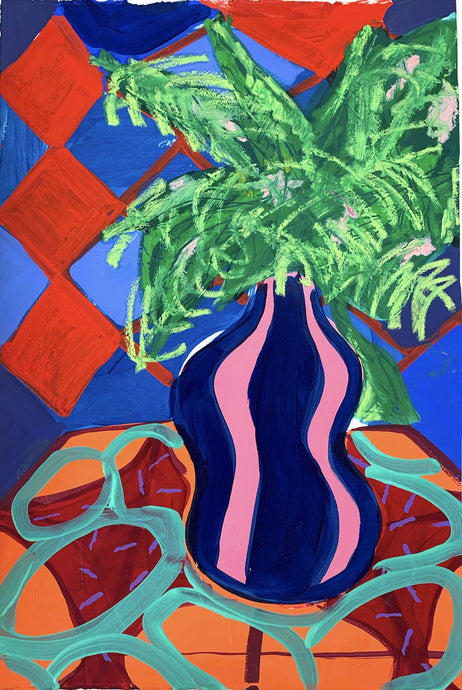 Curvy Vase with Fern | Rose Electra Harris | Original Artworks | Partnership Editions