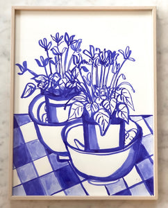 Cyclamen on Gingham Table