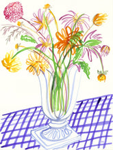 Load image into Gallery viewer, Dahlias on Gingham Table
