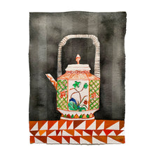 Load image into Gallery viewer, FAMILLE VERTE Orange tea pot | Isabelle Hayman | Original Artwork | Partnership Editions