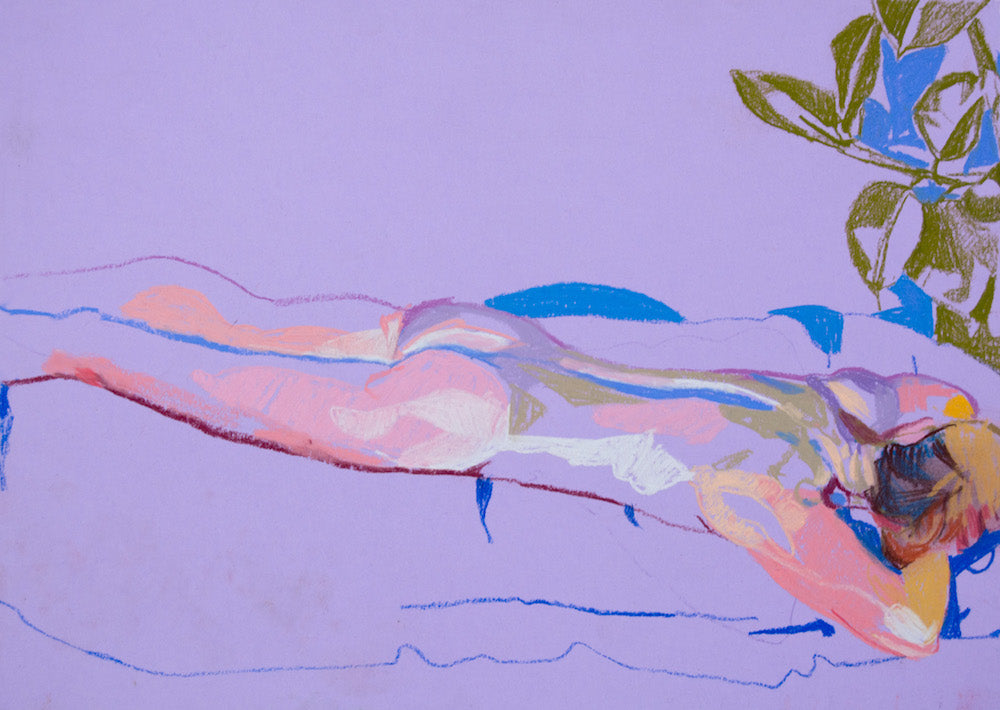 Female Nude on Purple with Green Plant