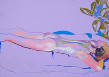 Load image into Gallery viewer, Female Nude on Purple with Green Plant