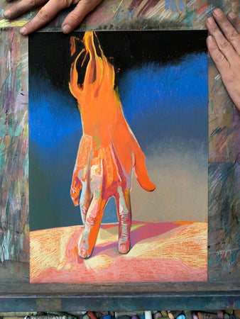 Burning Hand on Orange | Hester Finch | Original Artwork