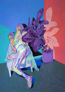 Double Nude on Purple with Purple Plant | Hester Finch | Original Artwork | Partnership Editions