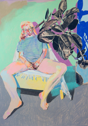 Nude in T-Shirt with Blue Plant | Hester Finch | Pastel on Paper | Partnership Editions