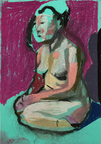 Nude on Turquoise with Pink Wall