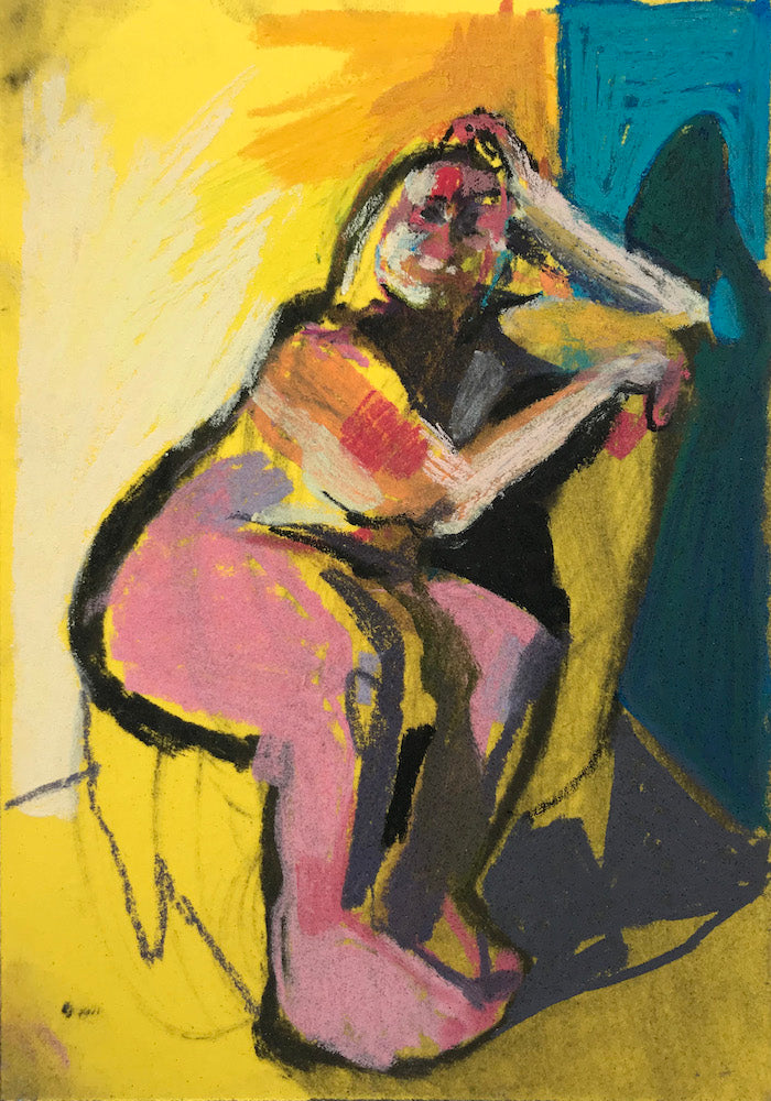 Nude on Yellow with Blue Wall