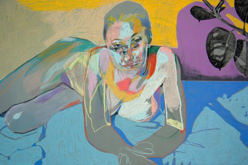 Multi Face Reclining Nude on Grey with Blue Sheet & Yellow Wall | Hester Finch | Original Artwork | Partnership Editions