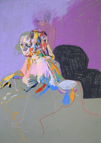 Multi Nude on Grey with Purple Wall & Purple Shadow | Hester Finch | Pastel on Paper | Partnership Editions
