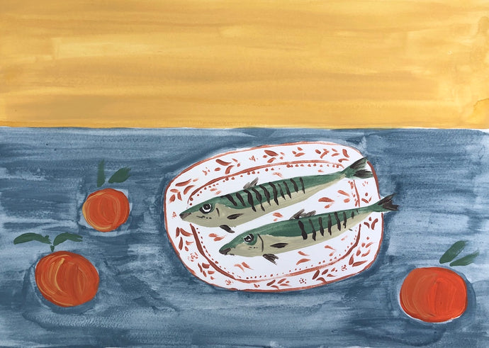 Fish on Red Plate | Julianna Byrne | Original Artwork | Partnership Editions