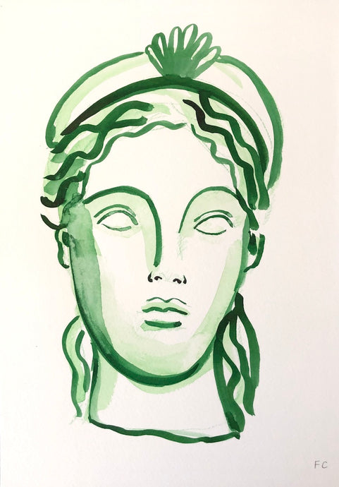 Girl With The Shell Crown In Green | Frances Costelloe | Original Artwork | Partnership Editions