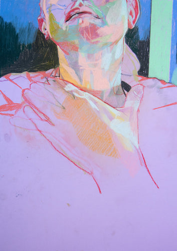 Hand and Throat on Purple with Blue Wall | Hester Finch | Soft Pastel on Paper | Partnership Editions