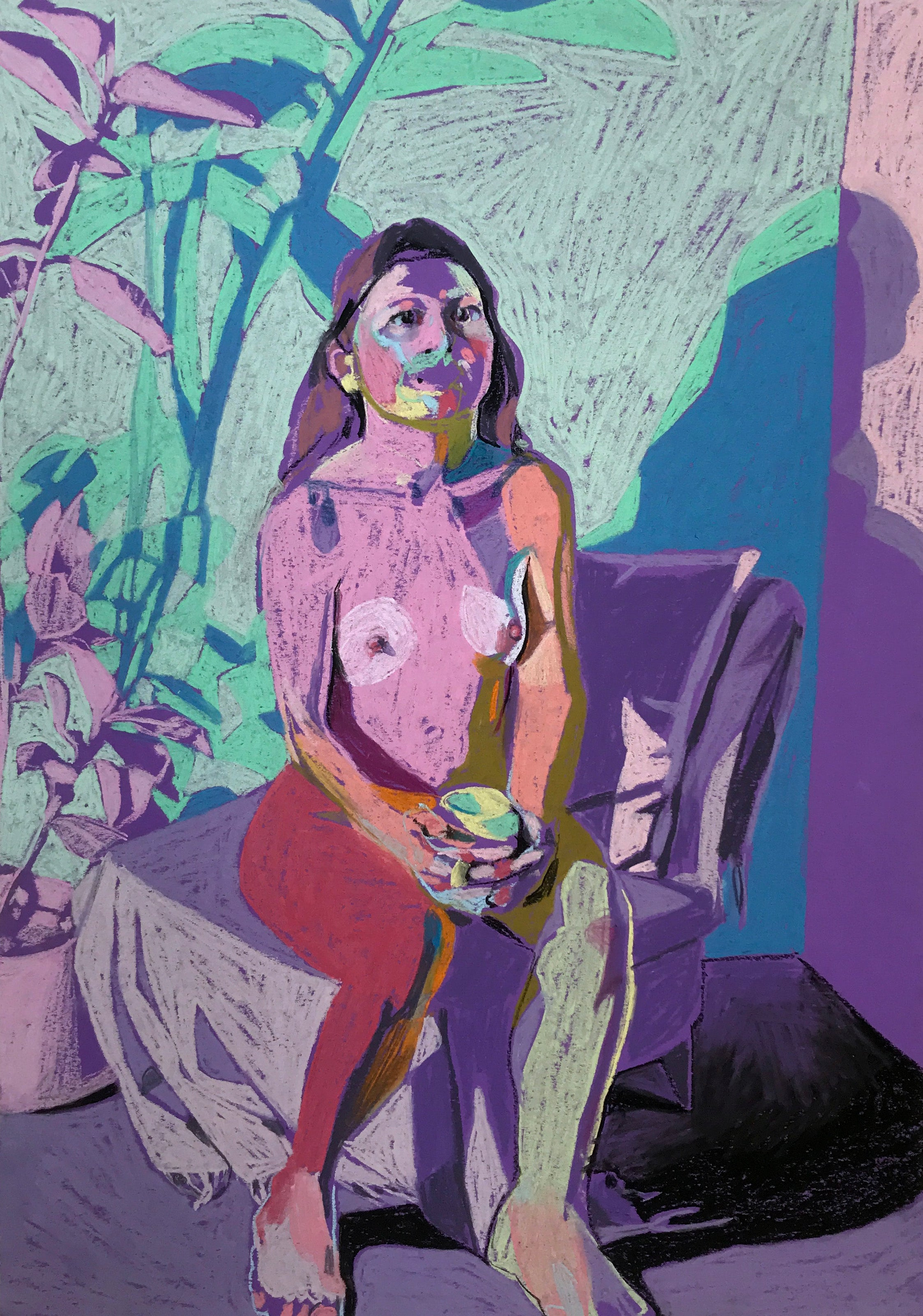 Nude on Purple with Plant and Mug | Hester Finch | Original Artwork | Pastel on Paper | Partnership Editions