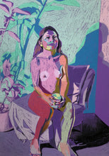 Load image into Gallery viewer, Nude on Purple with Plant and Mug | Hester Finch | Original Artwork | Pastel on Paper | Partnership Editions