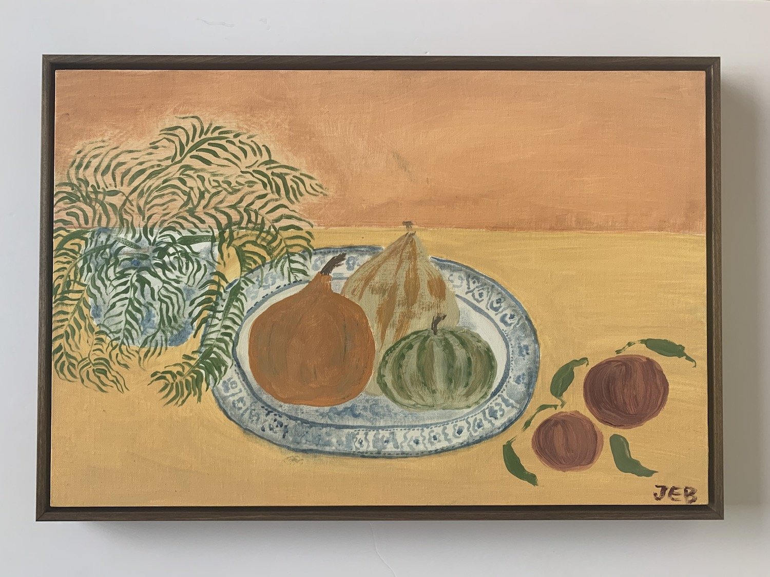 Squash on blue plate | Julianna Byrne | Original Artwork | Partnership Editions