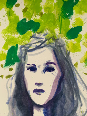 Girl in Garden | Jonathan Schofield | Original Artwork | Partnership Editions