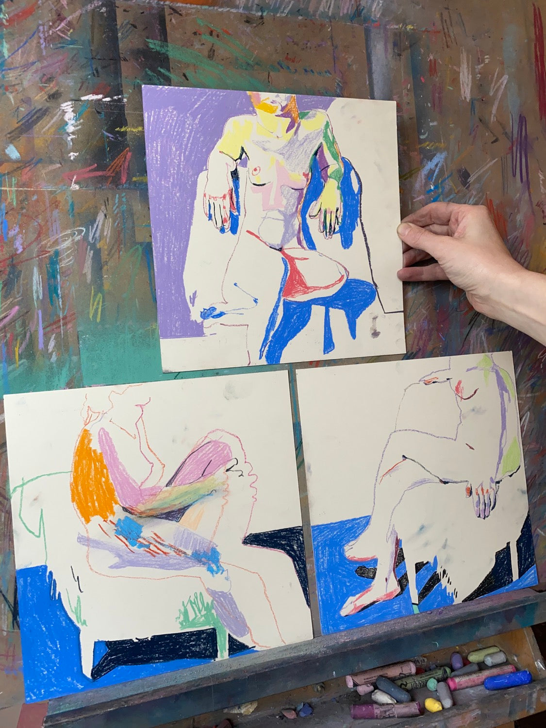 Triptych of Nude on Cream with Blue - 3/3