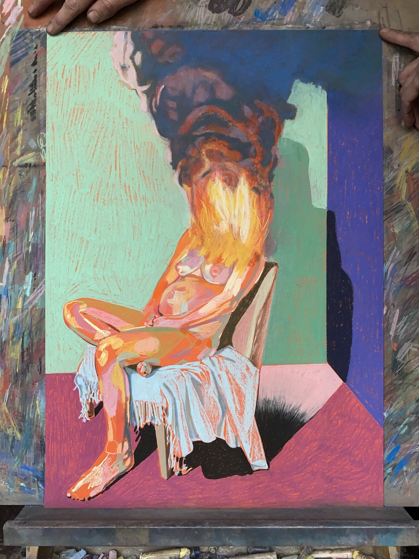 Nude on fire with pink ground & turquoise wall