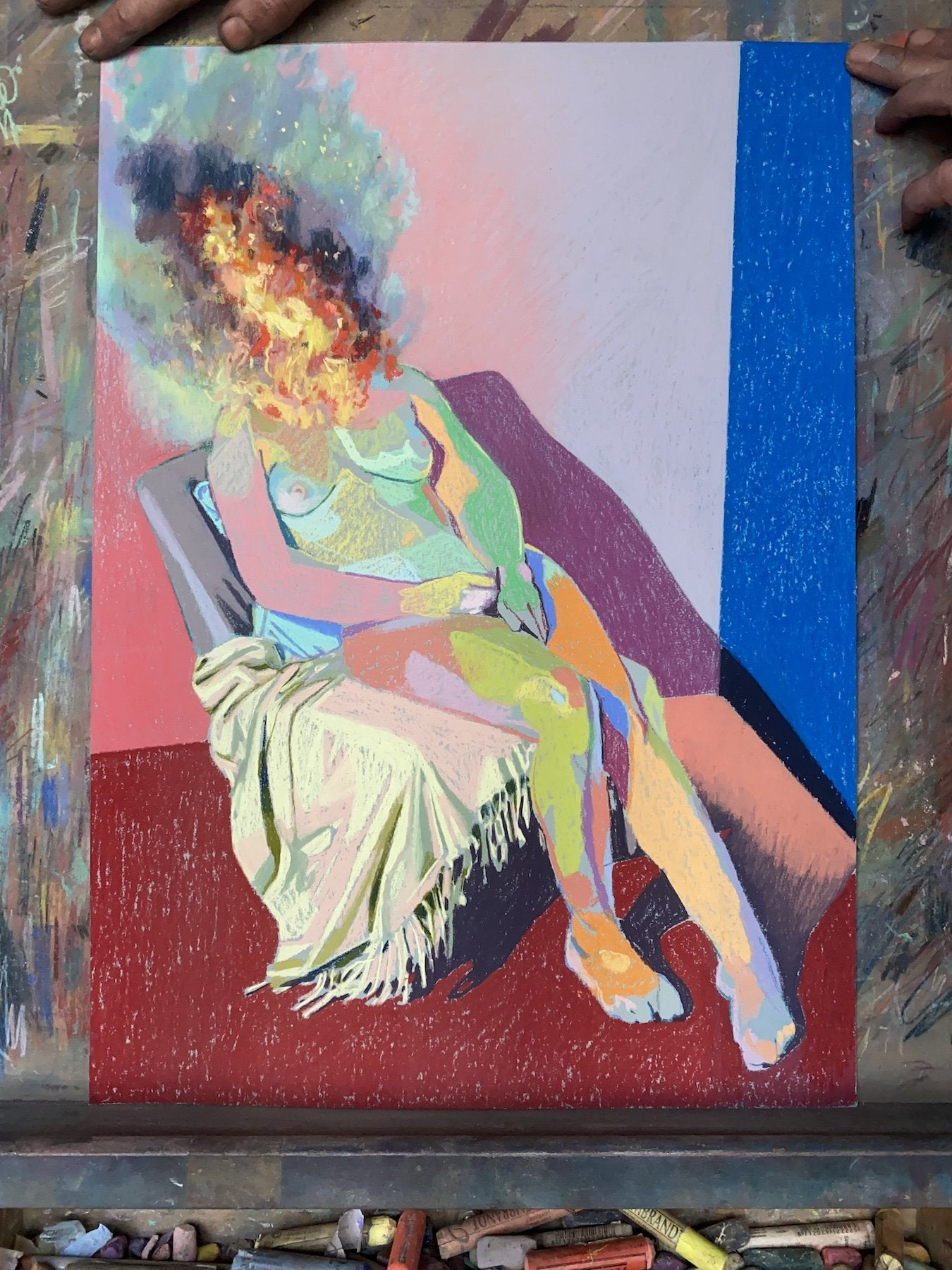 Nude on fire with red ground & blue wall