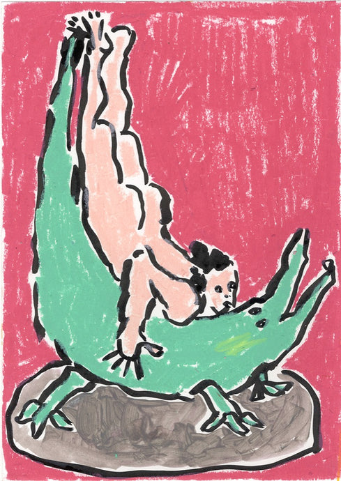 Crocodile Pose | Oil pastel and Indian Ink | Partnership Editions