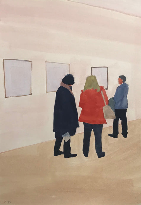 Ladies Discussing Schiele | Christabel Blackburn | Original Artwork | Oil on Paper | Partnership Editions