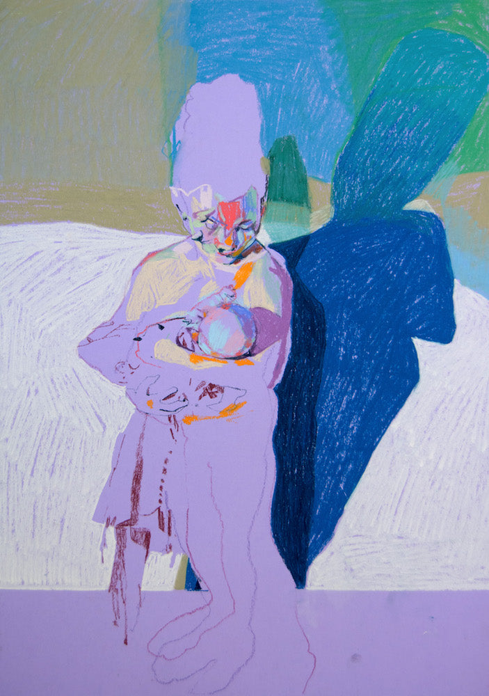 Multi Face Mother and Child on Purple with Blue Shadow | Hester Finch | Original Artwork | Partnership Editions