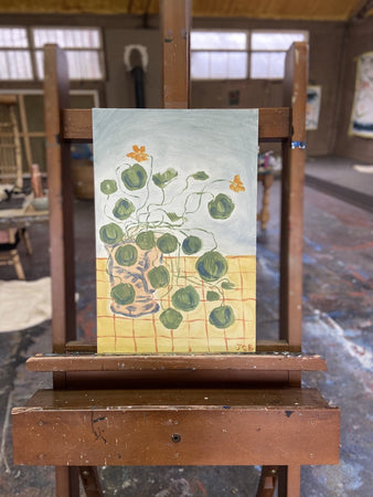 Nasturtiums on yellow